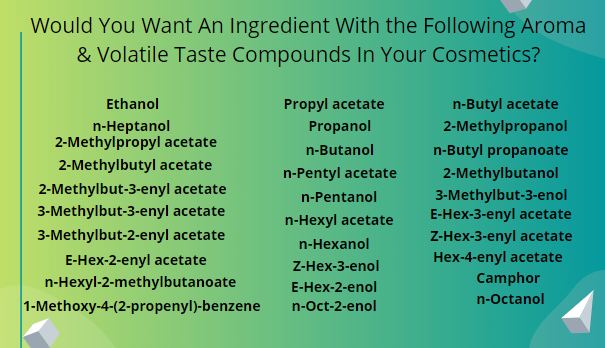 A list of aroma and volatile test compounds in an apple