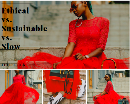 A graphic for ethical fashion vs. sustainable and slow fashion.