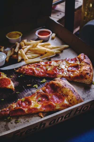 pepperoni pizza and fries