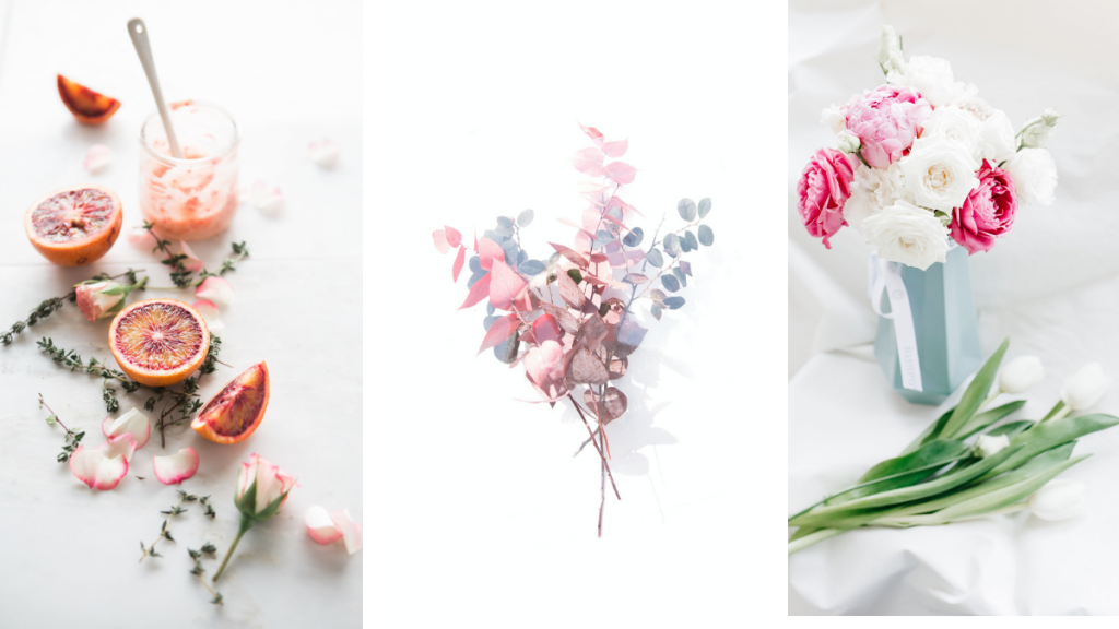 A collage of pastel color fruit, leaves, and roses